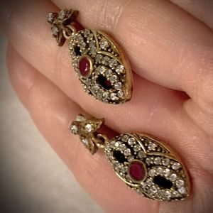 RUBY POST EARRINGS Solid 925 Sterling Silver/Gold